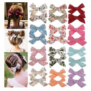 0-6 years old printed cotton bowknot children's hair butterfly butterfly pin student side clip BB clip baby hair accessories