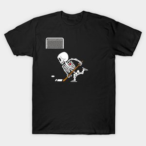 Men T-Shirt Skeleton Ice Hockey T Shirt Halloween Funny Skull Hockey Premium Tshirt Women T Shirt