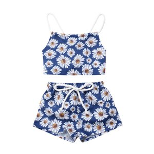 Summer Toddler Baby Girl Clothes Daisy Print Lace Up Tops Shorts 2PCS Outfit Set