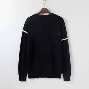 2020 casuali dei nuovi uomini di modo del manicotto Maglione pullover lungo maschile autunno girocollo Patchwork Maglione fatto a maglia Outwear Tops 8J0618
