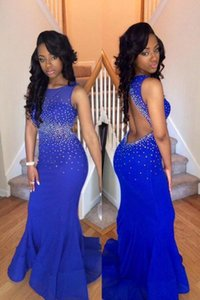 Royal Blue African Mermaid Long Cheap Pageant Prom Dresses Sleeveless Keyhole Back Beading Waist Party Long Evening Formal Gown Dress