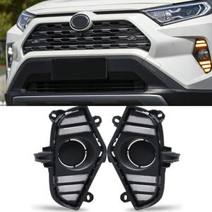 1 пара DRL LED дневного света Водонепроницаемый с потоком желтый поворотник Бампер для Toyota RAV4 2019 2020