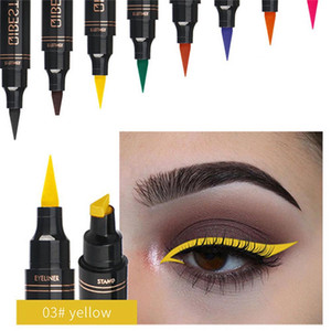 Eyeliners 12 cores Seal Stamp Marca líquido Eyeliner Waterproof Pen Fast Dry Black Eye Liner Lápis Com Cosmetic double-ended