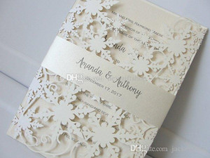 Elegant Ivory Shimmy Snowflake Die Cut Wedding Invitations with Belt Birthday Anniversary Party Invites with Free Printing Free Shipping