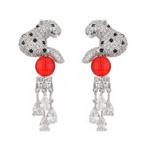Cute Animal Leopard Earrings For Women 925 Silver Needle Tassel Dangle Earring Full Diamond Wedding Fashion Jewelry