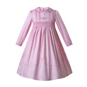 Pettigirl Pink Flower Girls Cotton Праздник копченая ребёнки платья с длинным рукавом СМОКИНГ Вышитые платья Комплекты G-DMGD108-C78