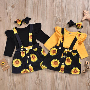 Baby Girl Clothes Ruffle Sleeve Romper Sunflower Skirt Headband 3pcs Sets Toddler Girls Suspender Skirt Suits Boutique Baby Outfits DW5145
