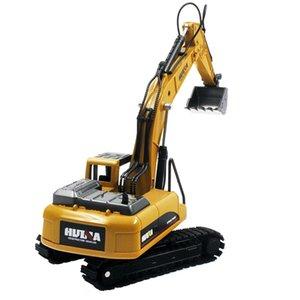 1710 1시 50분 다이 캐스트 합금 굴삭기 엔지니어링 트럭 정적 모델 캐터필라 휠 굴삭기 어린이 교육 장난감