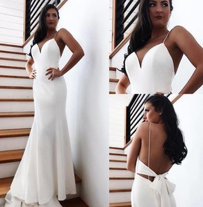 2020 Cheap Beach Backless Wedding Dresses Sexy Open Back With Bow Long Train Mermaid Bridal Gowns Robe de soriee BM1552