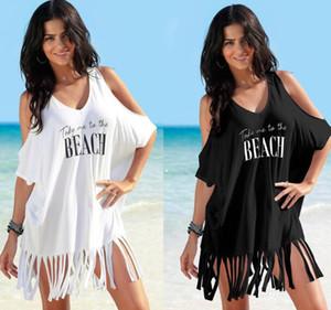 Ragazze spalle abiti lettera stampata spiaggia donne del vestito della nappa vestito dal bikini estate più il formato allentato Beach Dress GGA3374