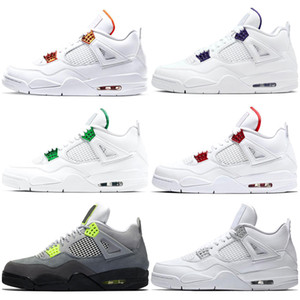 jumpman 4s Men Kids Basketball Shoes 4 What the Neon Bred Pure Money Metallic Pack Black Cat Chaussures Mens Trainers Sport Sneaker