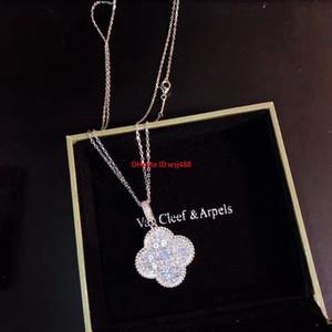 Femme Designer Collier Tempérament Party design polyvalent collier pendentif entièrement Sized Grand trèfle à quatre feuilles Pull chaîne
