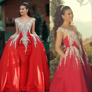 2020 Sparkly Red Mermaid Prom vestidos com destacáveis trem Contas de Cristal Formal vestido de festa vestidos de noite robe de soiree Abendkleider