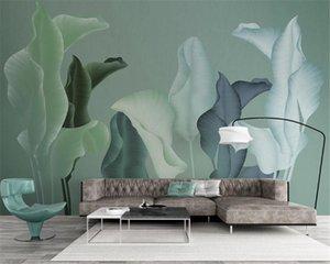 3d European Wallpaper modern minimalist hand-painted tropical plants leaves TV background wall HD Decorative Beautiful Wallpaper