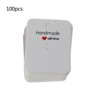 100Pcs Handgemachte Kraft Paper Blank Tags Ohrringe Halskette-Anzeigen-Karten-Paket N58F