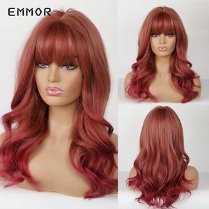 Africano americano Hamor longo sintético Natureza Onda perucas com franja para mulheres resistente ao calor Perucas diário Falso cabelo