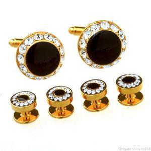 남성 비즈니스 스타일 디자이너 커프스 단추 모조 다이아몬드 커프 칼라 버튼 세트 여성 남성 프랑스어 셔츠 커프스 스터드 커프 링크 보석 선물