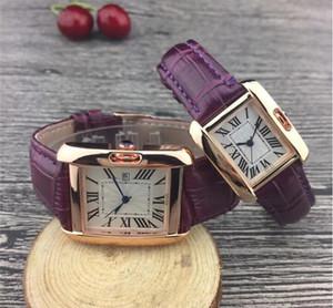 Leder Rechteck der Frauen Mode Männer Casual Luxury Uhrquarz Weiß Lovers Silver Dial weibliche Designer-Paare Uhren sauber freies Schiff