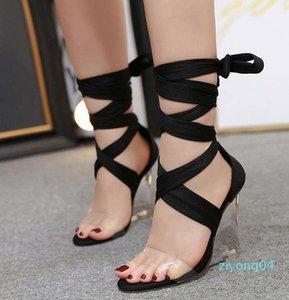 Sexy ankle wrap clear heels fashion luxury designer women gladiator women sandals women platform wedges sandals size 35 to 41 z04
