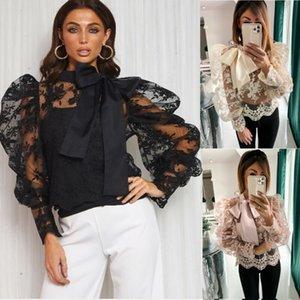 Art und Weise Frauen Mesh-Puff Lange Sheer Sleeve Top Bluse Bowknot Hemd Partei-Verein-Spitze-Blumen-durchschauen Baggy Tunika Bekleidung