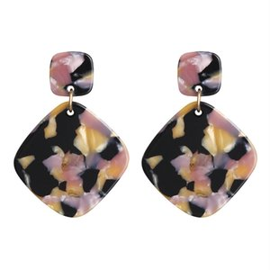 New European and American Hot Selling Acrylic Retro Acetate Plate Ear Studs Square Earrings Jewelry