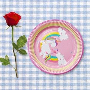 40 adet Unicorn Kağıt Tabaklar Büyük 23 cm Tabaklar Bebek Duş BARBEKÜ Yaz Parti Dekor Doğum Günü Partisi Kağıt Tabakla ...