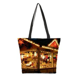 Pop2019 Customized Ladies Shoulder Bag Printing Christmas Pattern Photo Bag Portable Canvas Beach Leisure