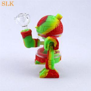 Robot şekli silikon su sprey sigara fıskiye boru 14.4mm ortak siliclab heady petrol ile su bong dab rig