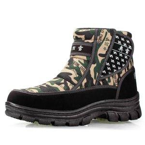 Hombres Botas de invierno 2019 zapatos impermeables antideslizantes camuflaje hombres plataforma de botas para la nieve del tobillo del tamaño gruesas botas de invierno de peluche 36-45