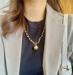 브랜드 펑크 목걸이 빈티지 큰 U 껍질 체인 여성을위한 목걸이 고딕 쥬얼리 금속 공 펜던트 목걸이 체인 Goth Bijoux 2020
