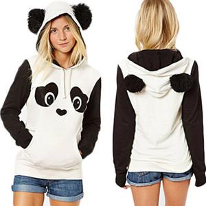 Sıcak Kadın Hoodie Kazak Jumper Kapşonlu Kazak Coat Panda Karikatür Hoody tişörtü Tops