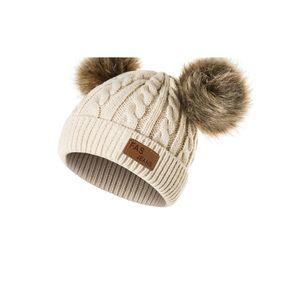Doppelkugel-Kinderhut Der Waschbär-Haarwulstbabybaby-Strickmütze Rosa Hut Heiße Artkindermütze Reines manuelles Weben aus reinem Xie Mei