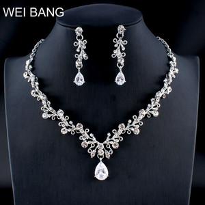 Collar de plata clásico de la flor Weibang Crystal Jewellery Set collar de la novia pendientes establecidas Mujer dropshipping joyería de la boda