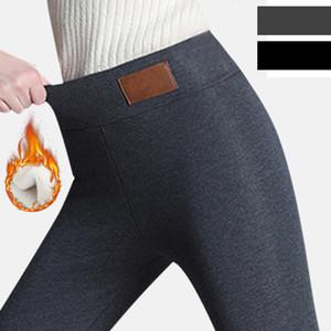 Preto calças quentes de inverno meias grossas Velvet Pants Casual lã confortável velo Calças Ladies Lambskin Cashmere calças V191111