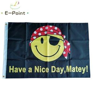 Drapeau Pirate Smiley Face Have a Nice Day 3 * 5 pi (90cm * 150cm) Polyester drapeau décoration bannière de vol jardin maison drapeau cadeaux de fête
