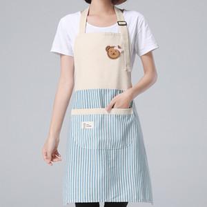 Listrado avental para cozinha ajustáveis lençóis de algodão Aventais para Mulher Chef Avental Baking acessórios Comercial Restaurante