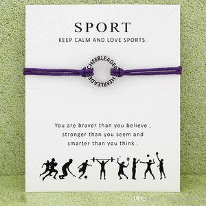 Cheerleader Bracelet Sports com cartão líder do elogio infinito desejo encanto cera corda warp Bangle para mulheres Homens moda jóias de presente