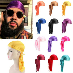 النساء حريري Durag طويل الذيل Dorag Durags قسط الحرير موجة نتردد قبعات باندانا العمامة الباروكات الهيب هوب العصابة الصيف قبعة قرصان LY527 جديد