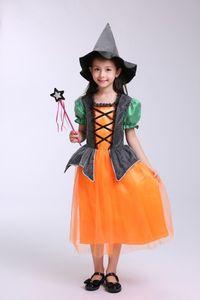 Halloween Cape pour enfants Sorcière Cosplay Costumes Ensembles citrouille Princesse robe cosplay magicien performance de jolis vêtements
