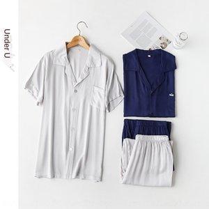 cat Mixi 2019 colore solido corona ricamo maschile pigiama di raso pantaloni a maniche corte bavero a casa abiti pantaloni vestiti a casa
