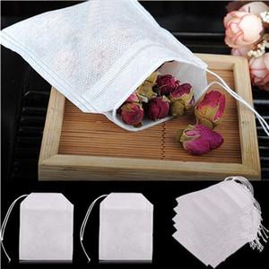 100pcs / pack tè borse da tè 5,5 x 7 cm bustine di tè vuoti con corda guarigione guarnizione carta filtro per erbe tea allentato bolsas 300bag t1i1853
