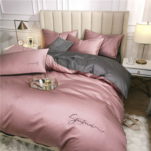 OLOEY 60S long-staple cotton Bedding Set Egyptian Solid color embroidery Bed set Duvet Cover Bed Sheet spread Fit sheet