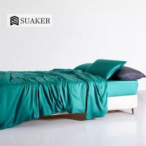 Suaker Mulheres Verde 100% Silk Bedding Set Beauty seda Quilt cover do Queen size lençol de linho cabido Pillowcase Para Sono Profundo