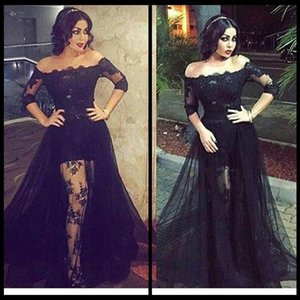 Sexy Off Shoulder Black Formal Evening Dresses With Half Long Sleeves Lace Celebrity Prom Gowns Party Dresses See Through Evening