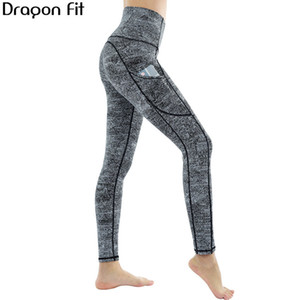 Dragão Fit Marble cintura alta Yoga Pants Mulheres Side Packet Academia Workout Elastic Yoga Leggings Esporte Calças Lápis Damskie MX200329