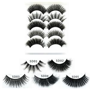 New cils cheveux synthétique 3D 5pairs / pack sexy stéréo multi-couche épaisse longue bande pleine flase cils yeux accessoires de maquillage