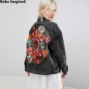 Boho Büyük boyutlu çoklu çiçek İşlemeli Denim Ceket uzun kollu rahat şık ceket ceket kadınlara 2019 yeni kış ceket Inspired