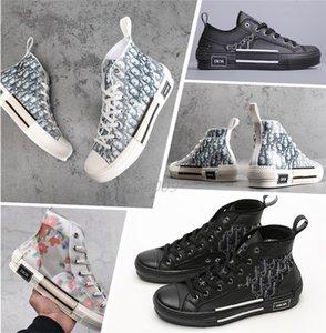 Dior 19FW B23 Косой High Low Top Sneakers марочные платформа Obliques Техническая кожа Мужская обувь Женская мода Кроссовки Размер 36-44