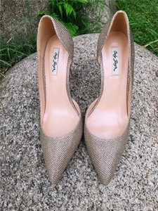 Free shipping real photo genuine leather lady Gold Glitter Point toe lady high heel shoes pump size 33-43 Ladies Heels Wedding 12cm 10cm 8cm