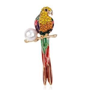Großhandelsgroße Vogel Eulen Kristall Emaille Broschen Antiquitäten Blumenstrauß Papagei Brosche Schal Clips Schmuck Kostenloser Versand